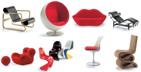 Art 41 Paimio, Ball, Bocca, Chaise de Le Corbusier, La mamma, Phanton, Tulip Saarinen, Wiggle Side