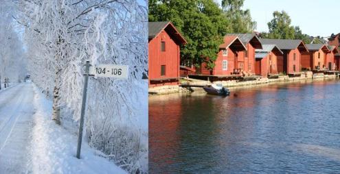 Finlândia no inverno e no verão
