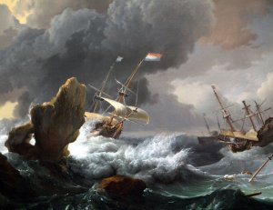 Ships in Distress in a Heavy Storm - Ludolf Bakhuysen