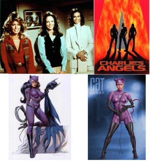 Em cima: As panteras (série e filme). Em baixo: mulher-gato (cartoon e filme).